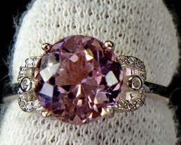 15.35 Cts Unheated & Natural ~ Purple Pink Kunzite Silver Ring