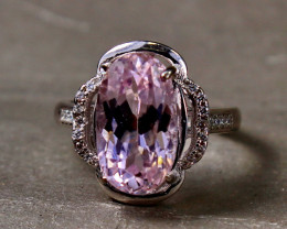 26.60 Cts Unheated & Natural ~ Purple Pink Kunzite Silver Ring