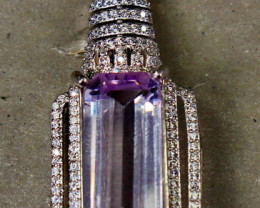 42.00 Cts Unheated & Natural ~ Purple Pink Kunzite Silver Pendant