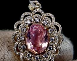 41.30 Cts Unheated & Natural ~ Purple Pink Kunzite Silver Pendant
