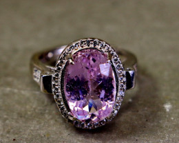26.65 Cts Unheated & Natural ~ Purple Pink Kunzite Silver Ring