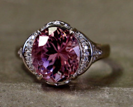24.25 Cts Unheated & Natural ~ Purple Pink Kunzite Silver Ring