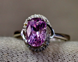 18.35 Cts Unheated & Natural ~ Purple Pink Kunzite Silver Ring