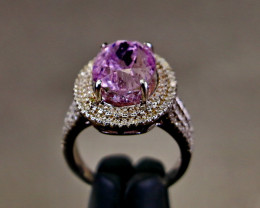 35.35 Cts Unheated & Natural ~ Purple Pink Kunzite Silver Ring