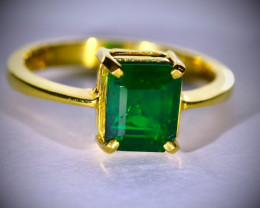 Columbian Emerald 2.60ct GIA Certified Solid 22K Yellow Gold Solitaire Ring
