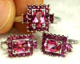 85.51 Tcw. Topaz Ruby Silver Earrings, Pendant, 18