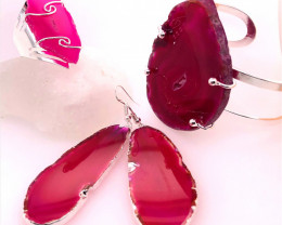 Beautiful Agate Jelwery set: Bracelet, Ring and Earrings  BR 688