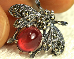 20.74 Tcw. Sterling Silver, Gold Plated Ruby Brooch - Beautiful