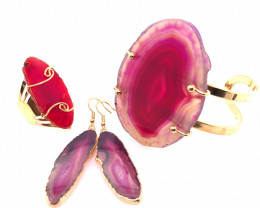 Beautiful Agate Jelwery set: Bracelet, Ring and Earrings  BR 692