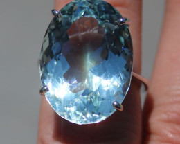 GIA Certified Aquamarine 27.44ct Solid 18K White Gold Solitaire,Untreated