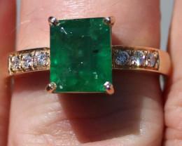 GIA Certified Columbian Emerald 3.70ct Natural Diamonds Solid 18K Yellow Go