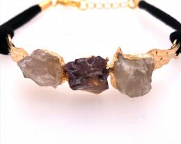 Raw Multi Gemstone with Wings Gold Bracelet BR 722