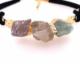 Raw Multi Gemstone with Wings Gold Bracelet BR 724