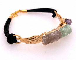Raw Multi Gemstone with Wings Gold Bracelet BR 725