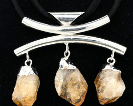 Triple Raw Citrine Gemstone Necklace BR 733