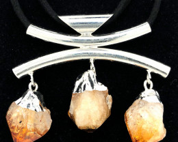 Triple Raw Citrine Gemstone Necklace BR 740