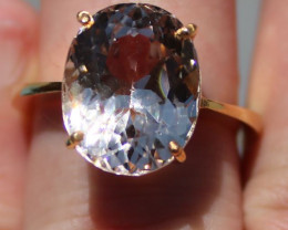 Topaz 10.44ct Solid 22K Yellow Gold Solitaire,Untreated,GIA Certified