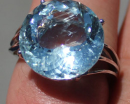 GIA Certified Aquamarine 15.20ct Solid 18K White Gold Solitaire Ring