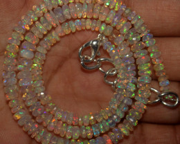 46 Crt Natural Ethiopian Welo Faceted Opal Beads Necklace 66