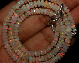 45 Crt Natural Ethiopian Welo Faceted Opal Beads Necklace 49