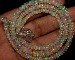 43 Crt Natural Ethiopian Welo Faceted Opal Beads Necklace 72