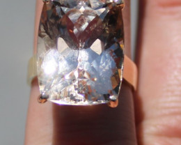 GIA Certified Precious Topaz 28.60ct Solid 18K Yellow Gold Solitaire Ring