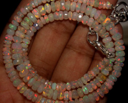 44 Crt Natural Ethiopian Welo Faceted Opal Beads Necklace 46
