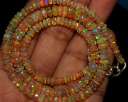 48 Crt Natural Ethiopian Welo Faceted Opal Beads Necklace 74