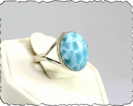 Stunning Handcrafted Larimar 925 Sterling Silver Oval Ring #7.5