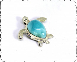 Excellent Sky Blue Natural Larimar 925 Sterling Silver Turtle Pendant 32mm