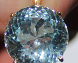 GIA Certified Aquamarine 23.05ct Solid 18K Yellow Gold Pendant