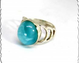 Outstanding Natural Sky Blue Larimar Sterling Silver Ring #7.5