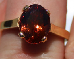 GIA Certified Spessartine Garnet 4.63ct Solid 18K Yellow Gold Solitaire Rin