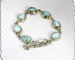 Outstanding Natural Light Blue Larimar Link Sterling Silver Bracelet 6.5inc