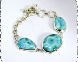 Outstanding handcrafted Solid Larimar Sterling Silver Bracelet 170mm + exte