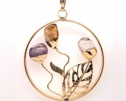 Happines Garden ,Amehyst.Citrine ,crystal , on chain BR2104