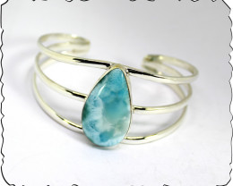 Beautiful 6-7 inch Solid 295 Sterling Silver Larimar cuff Bangle Bracelet