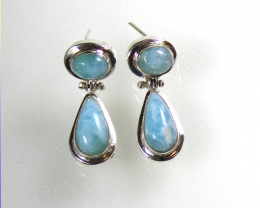 Exquisite Natural Sky Blue Larimar .925 Sterling Silver Dangle Earrings 1.2