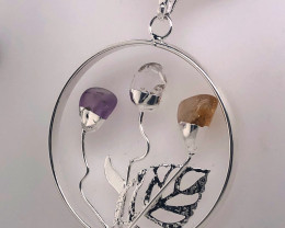Happines Garden ,Amehyst.Citrine ,crystal , silver black  necklace BR2106