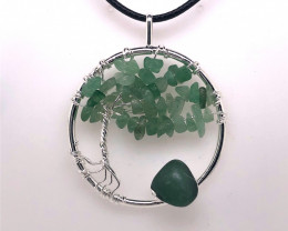Green Happines Garden ,Aventurinel , silver black  necklace BR745