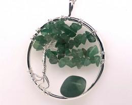 Green Happines Garden ,Aventurinel , silver chain  BR746