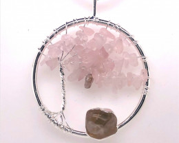 Pink Rose Quartz Earthly Tree Of Life,silver ,black necklace  BR 752