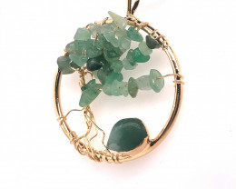 Green  Earthly Tree Of Life,gold  ,black necklace BR 750