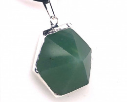 Terminated Point Aventurine Pendant on black knecklace BR 761