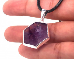 Amethyst Gemstone Terminated Point silver Black necklace BR 21