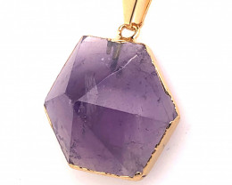 Amethyst Gemstone Terminated Point Gold ,chain BR 2113