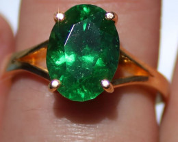 GIA Certified Tsavorite Garnet 4.04ct Solid 22K Yellow Gold Solitaire Ring
