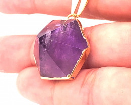 Amethyst Gemstone Terminated Point Gold ,chain BR 2114
