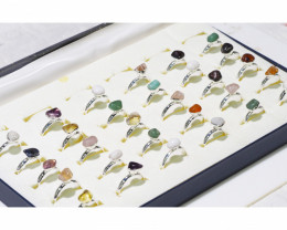 x30 set Tumbled Raw Gemstone Silver Plated Rings BR 766