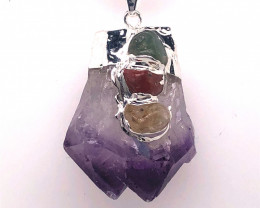Amethyst Gemstone DOUBLE  Terminated Point ,silver black necklace  BR 763